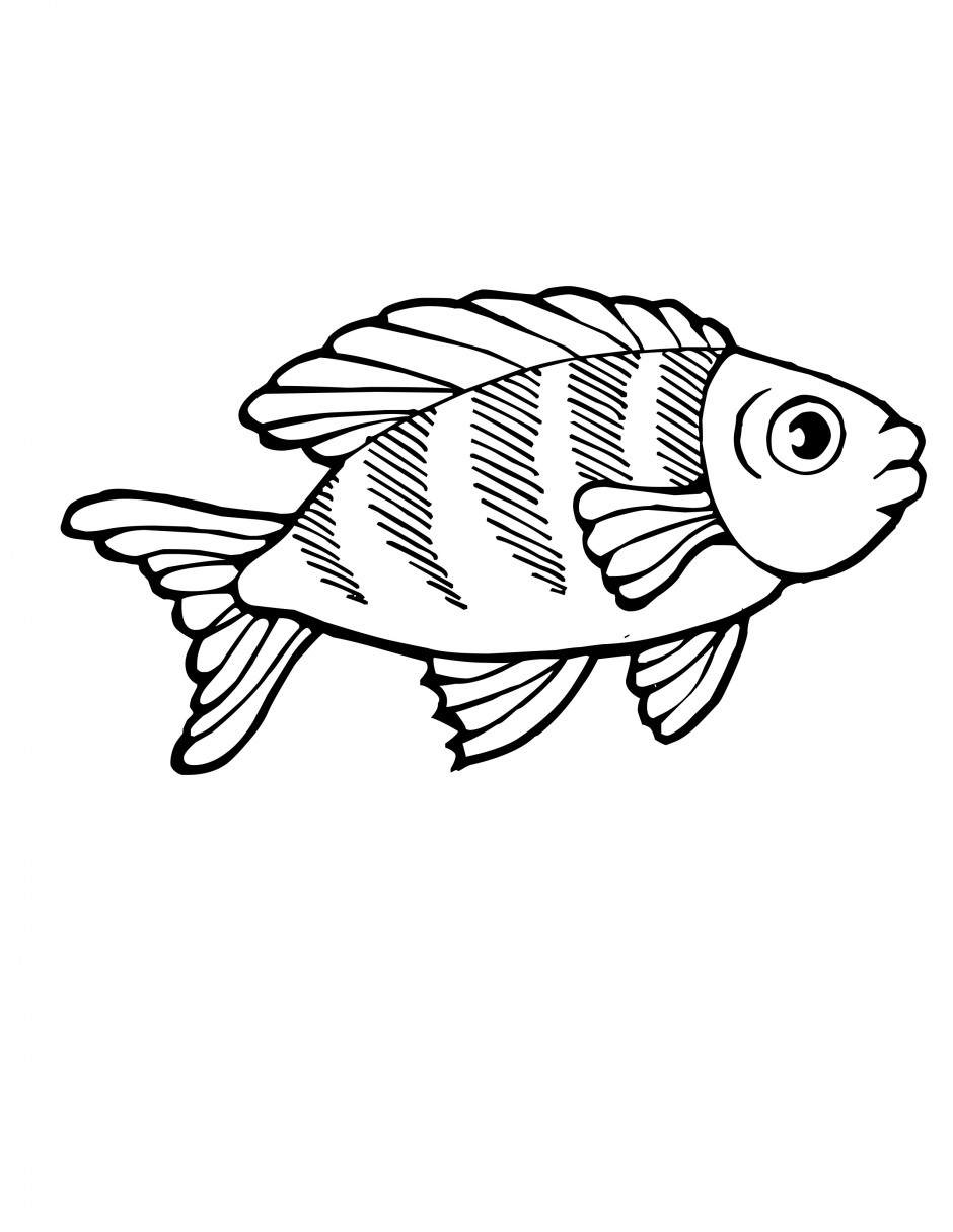 Coloring book page of fish - Coloring Book Pages With Fish Rainbow Fish Coloring Page