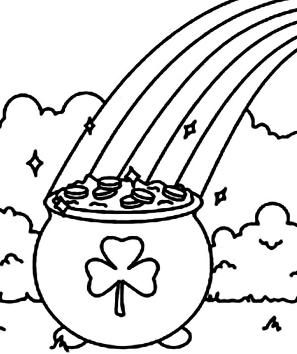 Pot Of Gold Rainbow Coloring Pages Pot Of Gold Coloring Page