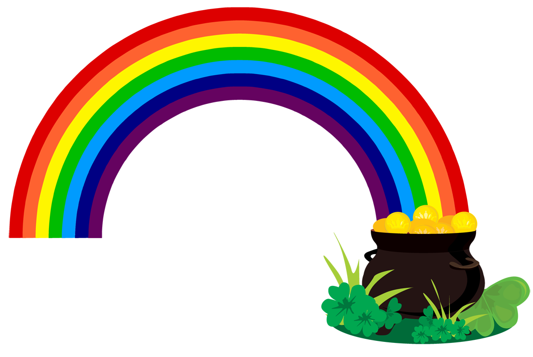 Rainbow with pot of gold clipart black and white clipart for White rainbow project