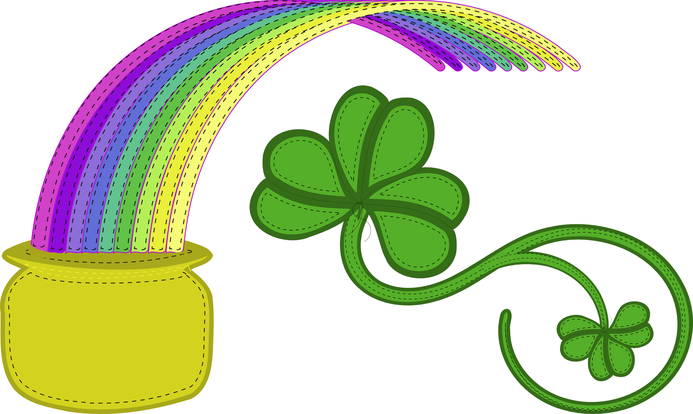Pictures Of Rainbow With Pot Of Gold Clipart Black And White Rock