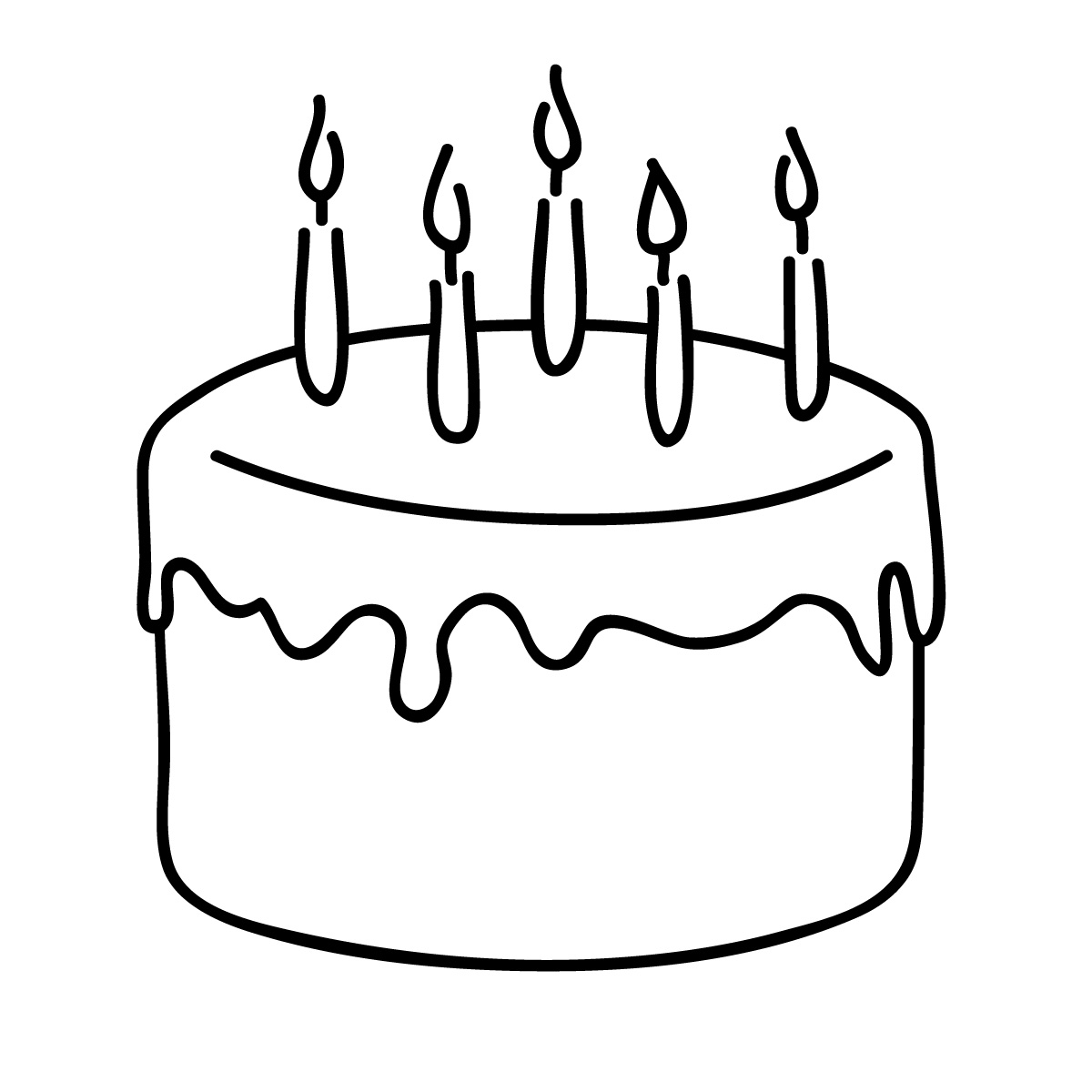 Happy Birthday Cake Clipart Black And White