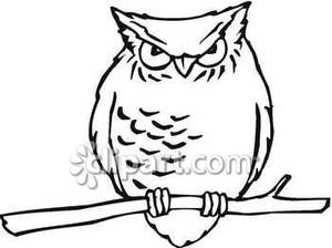 reading-owl-clipart-black-and-white-Black and White Grumpy Owl Royalty    Baby Owl Clipart Black And White
