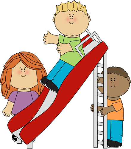 Kids Playing On Slide Clip Art 440 x 500