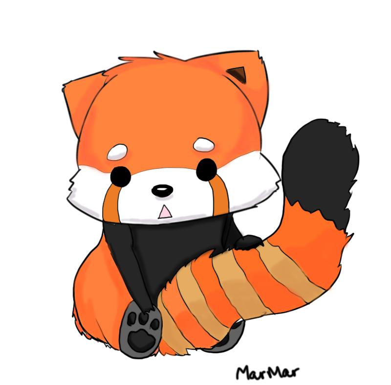 how to draw a red panda face