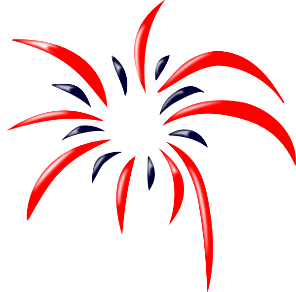 Red white and blue firework clipart