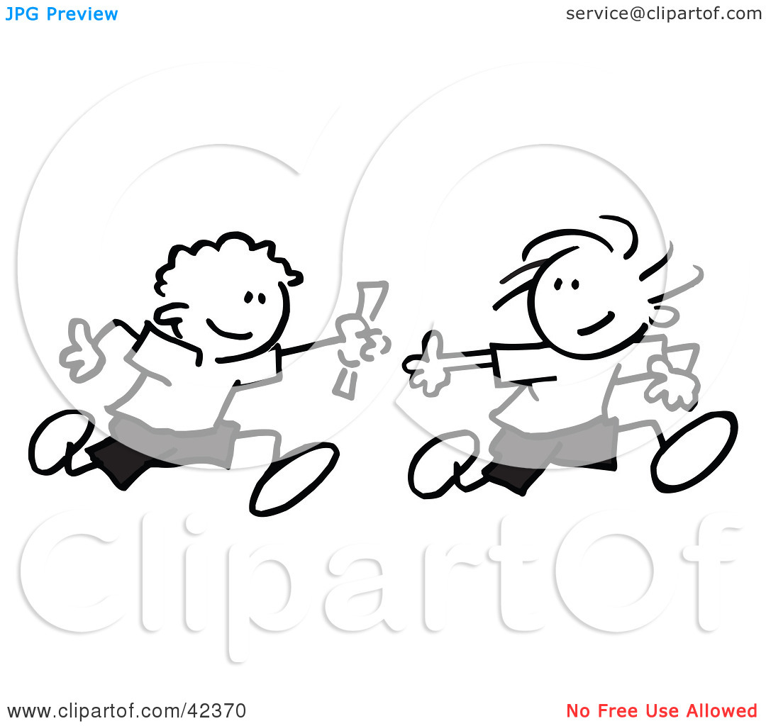 -clipart-Clipart-Illustration-Of-Black-And-White-Stick-Boys-Running ...