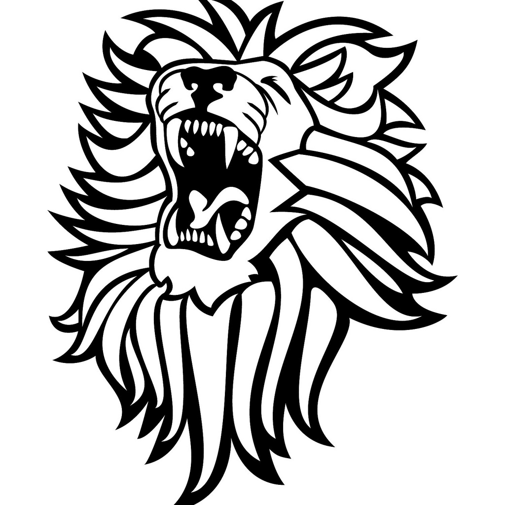 roaring lion svg black and white
