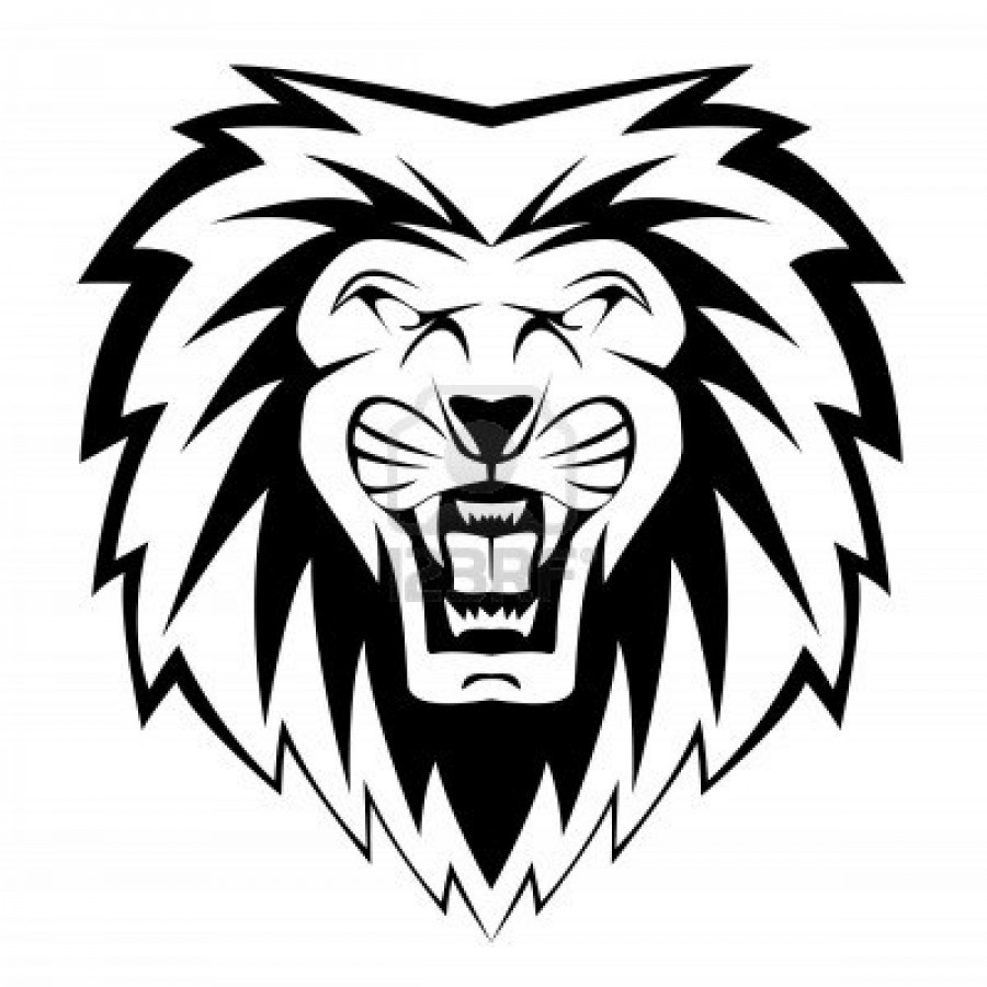 roaring lion black and white