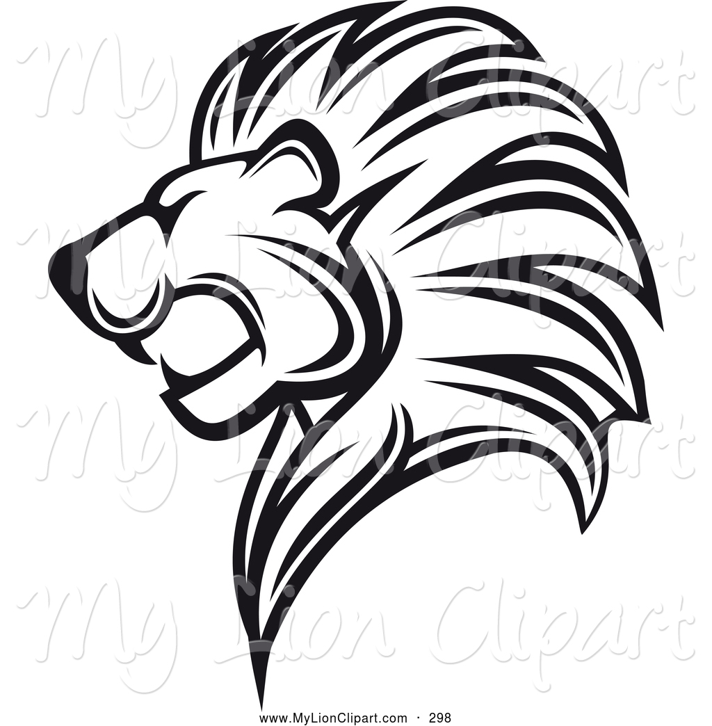 Lion Roaring Drawing Black And White - photo#30