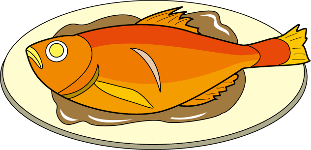 Cartoon cooked salmon