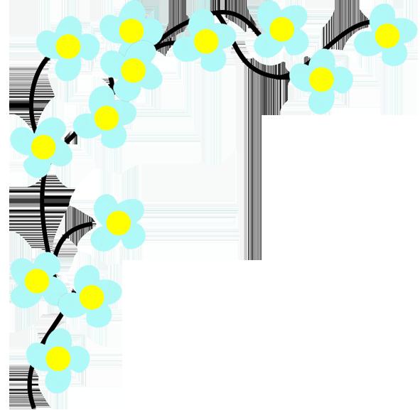 Blue flower borders clip art