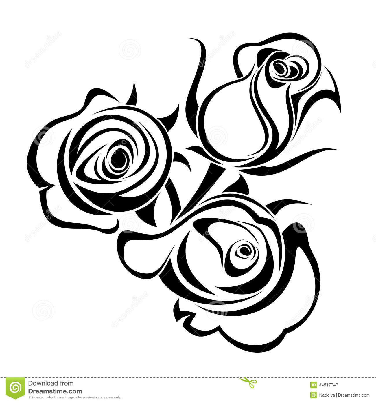 clipart roses black and white - photo #19