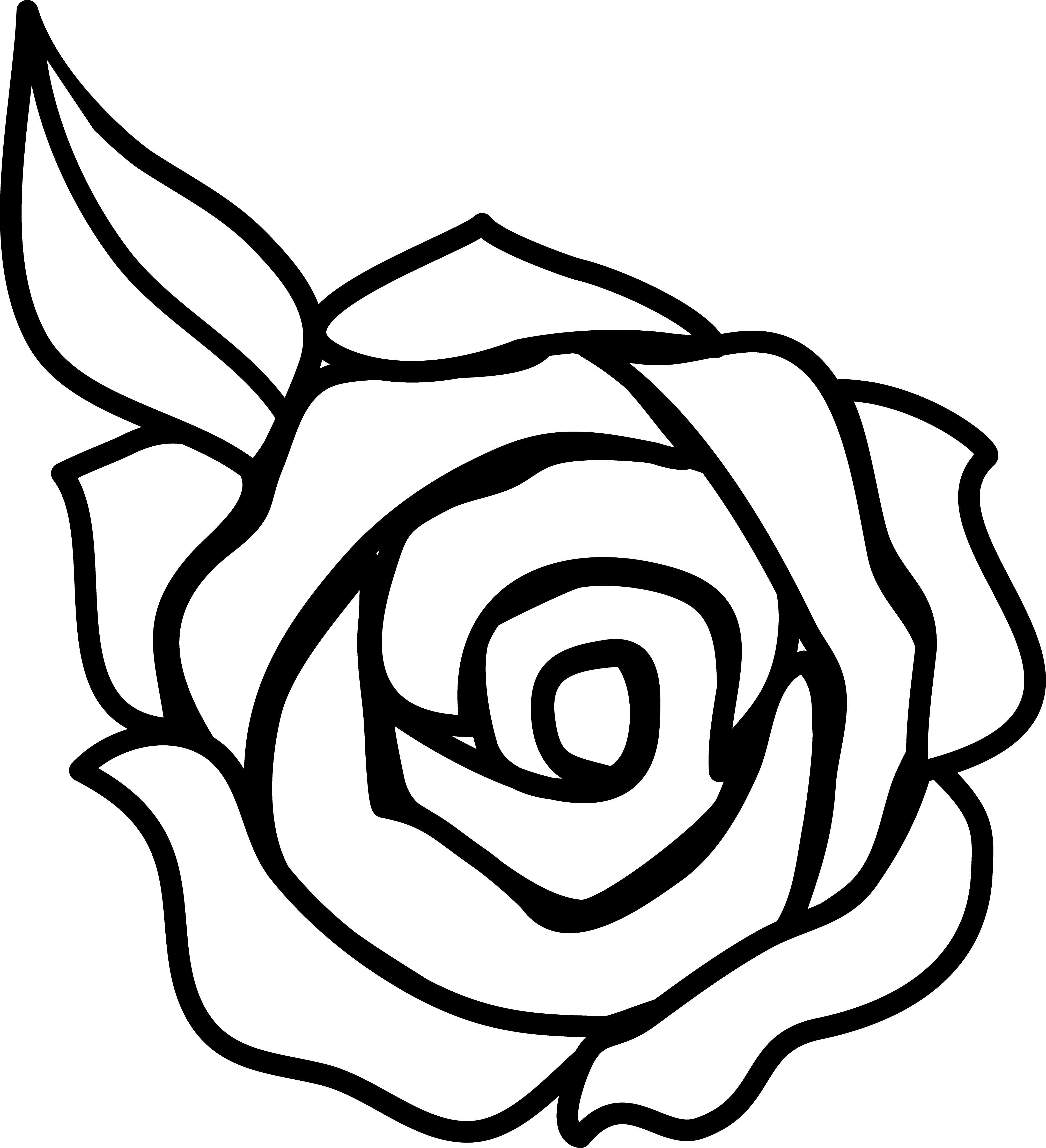 Rose Clip Art Black And White