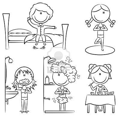 Bedtime Routine Coloring Pages