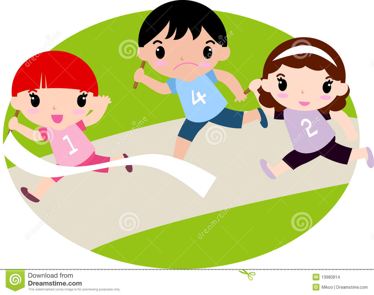 Kids Running A Race Clipart