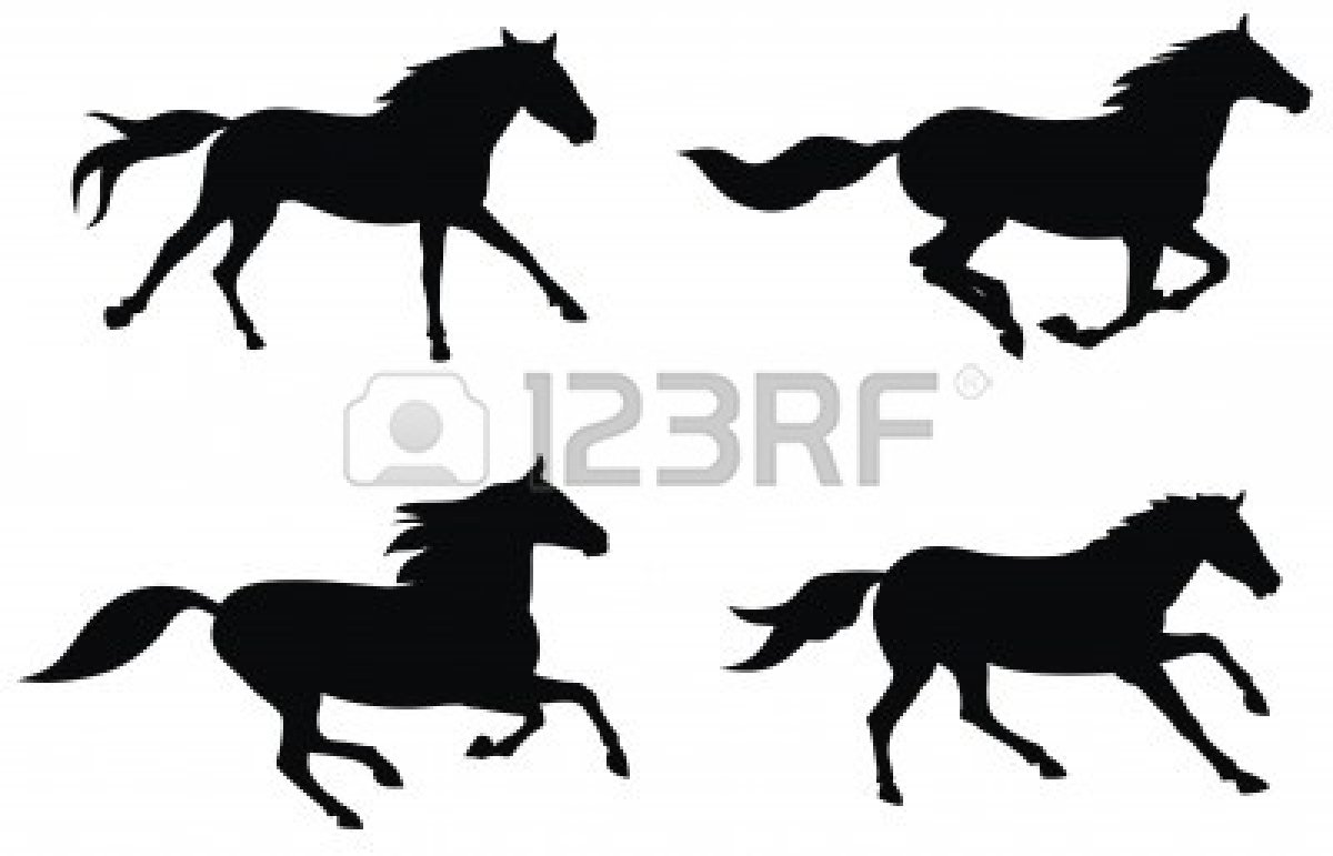 Jpg To Line Art : Running horse silhouette vector clipart panda free