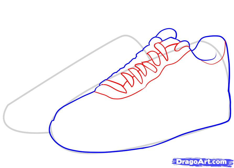 Running Shoes Drawing Clipart Panda Free Images. How To Draw Nike Air Force  Ones