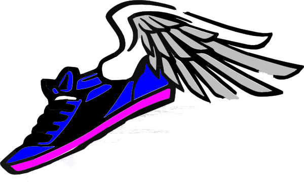 Track And Field Blue Gold Shoe With Wings