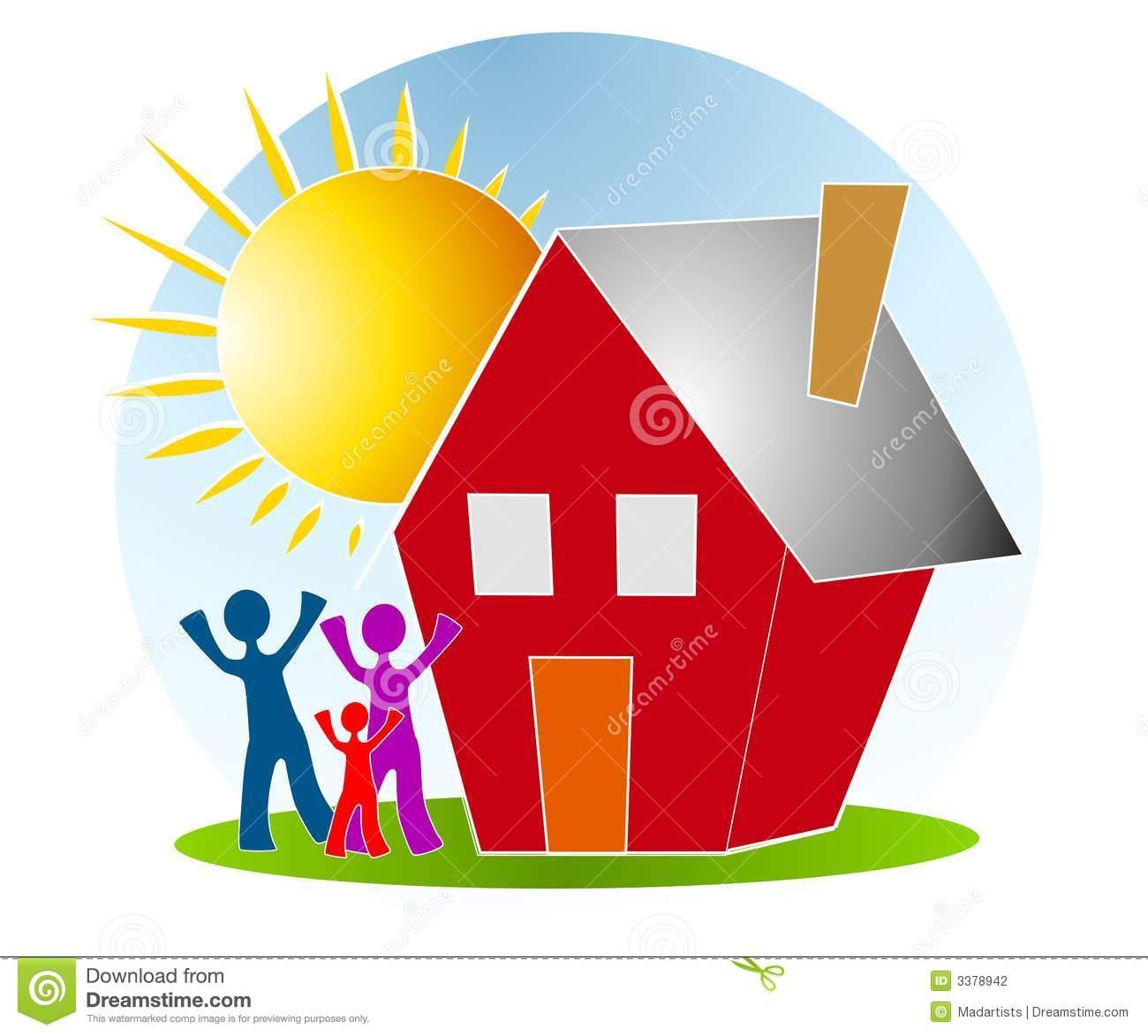 family house sun clip art
