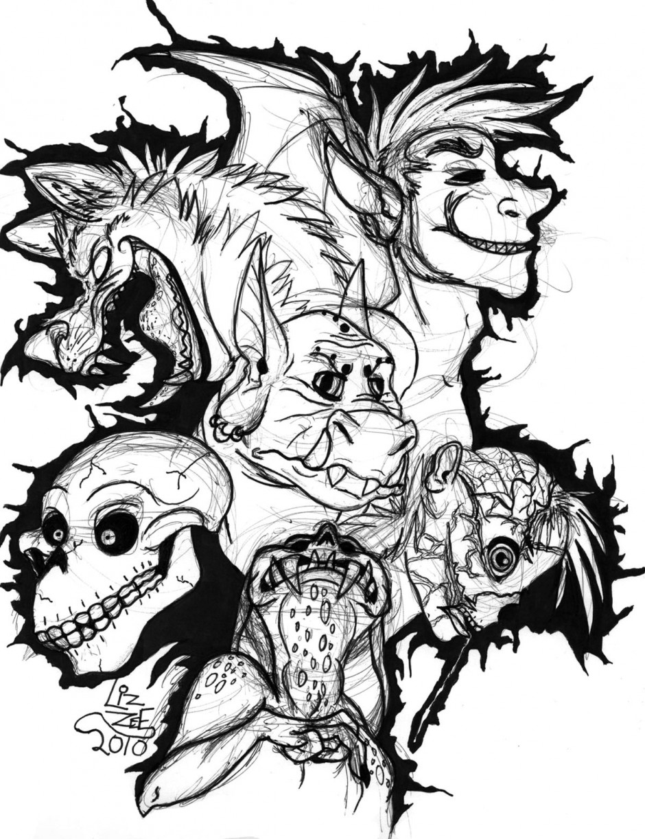 evil monsters coloring pages - photo#4