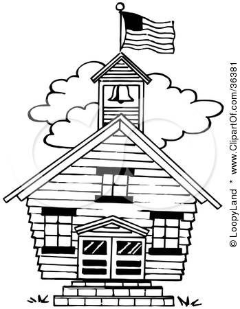 Black and white school building clip art