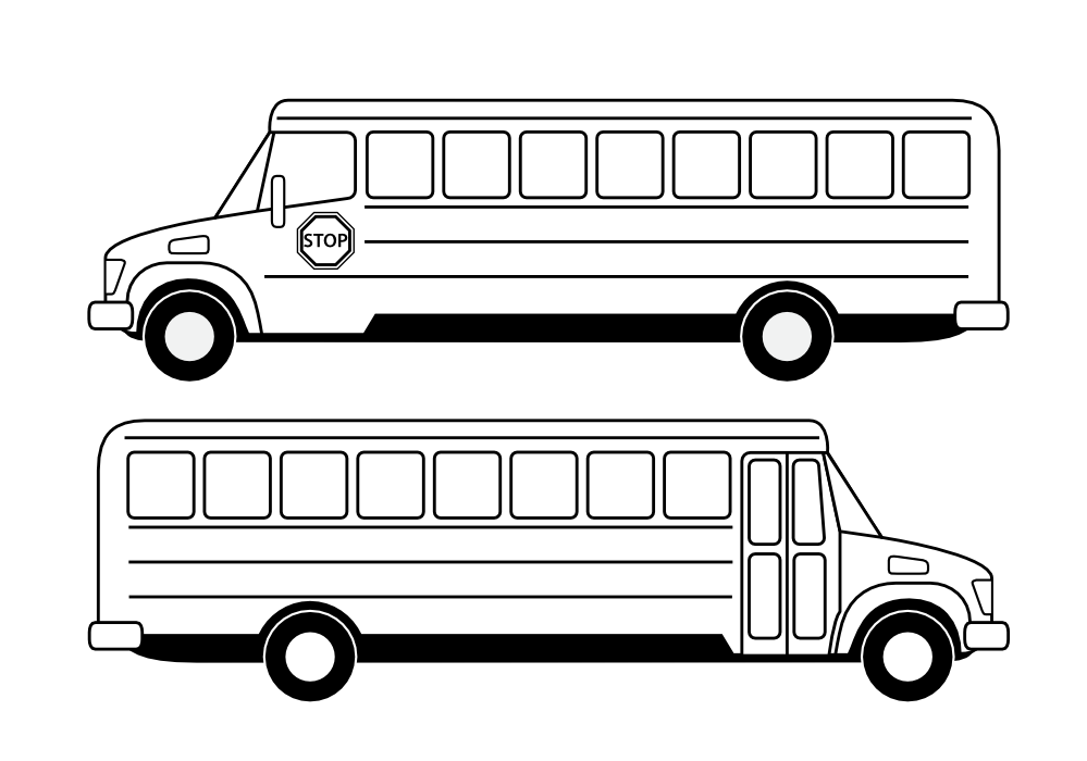 School bus clip art black and white clipart panda free for Coloring page school bus