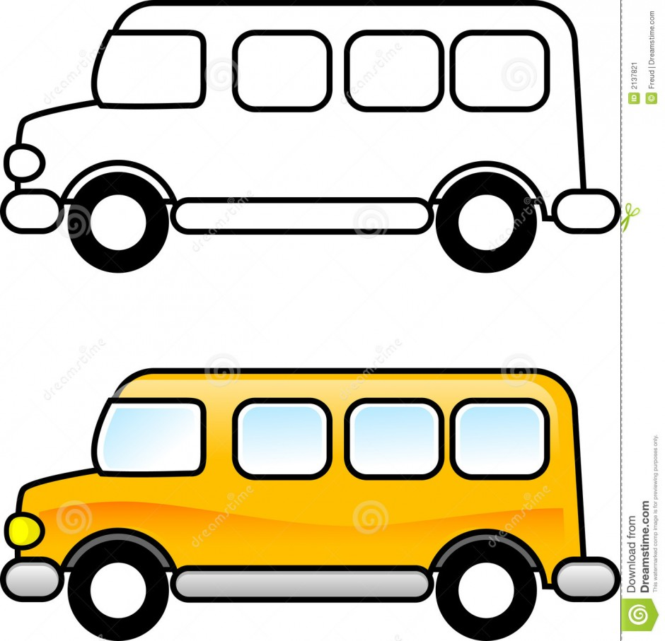 Cartoon School Bus And Car Crash
