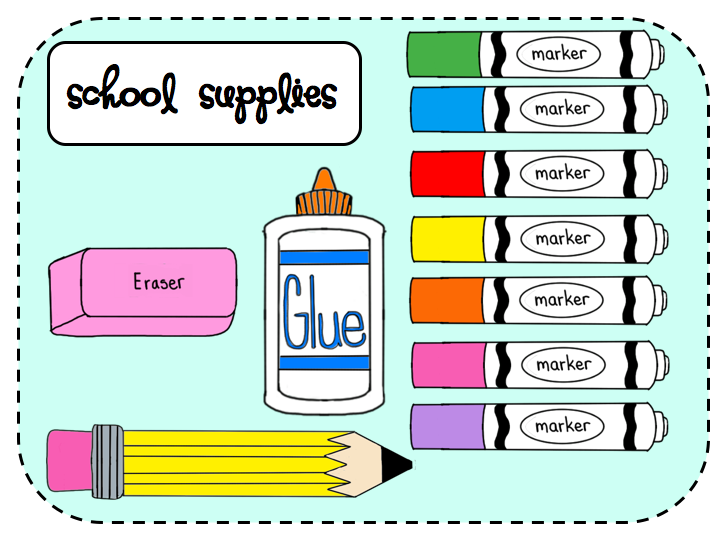 Clipart for school supplies