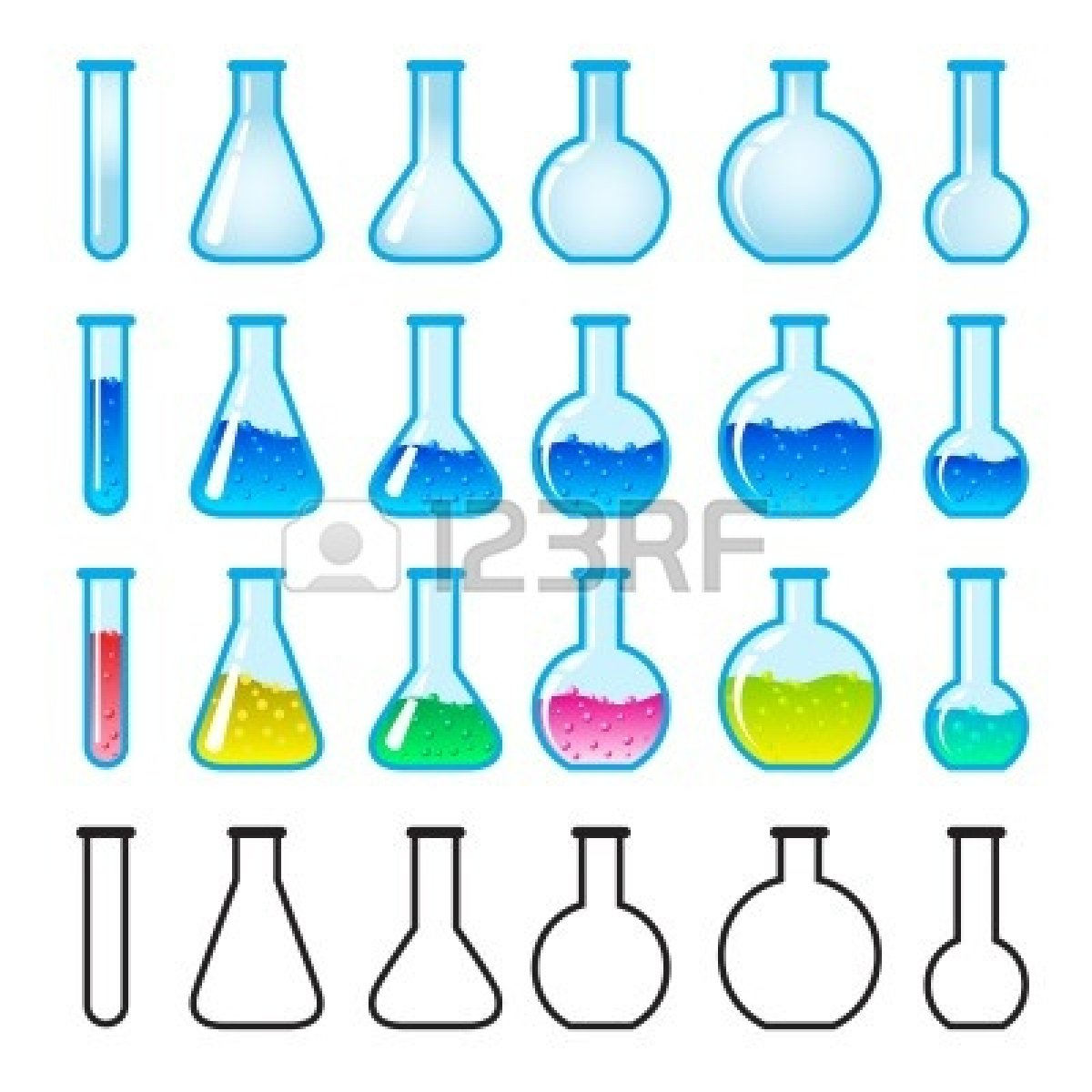 Science lab safety clipart 10259587 set of chemical science equipment