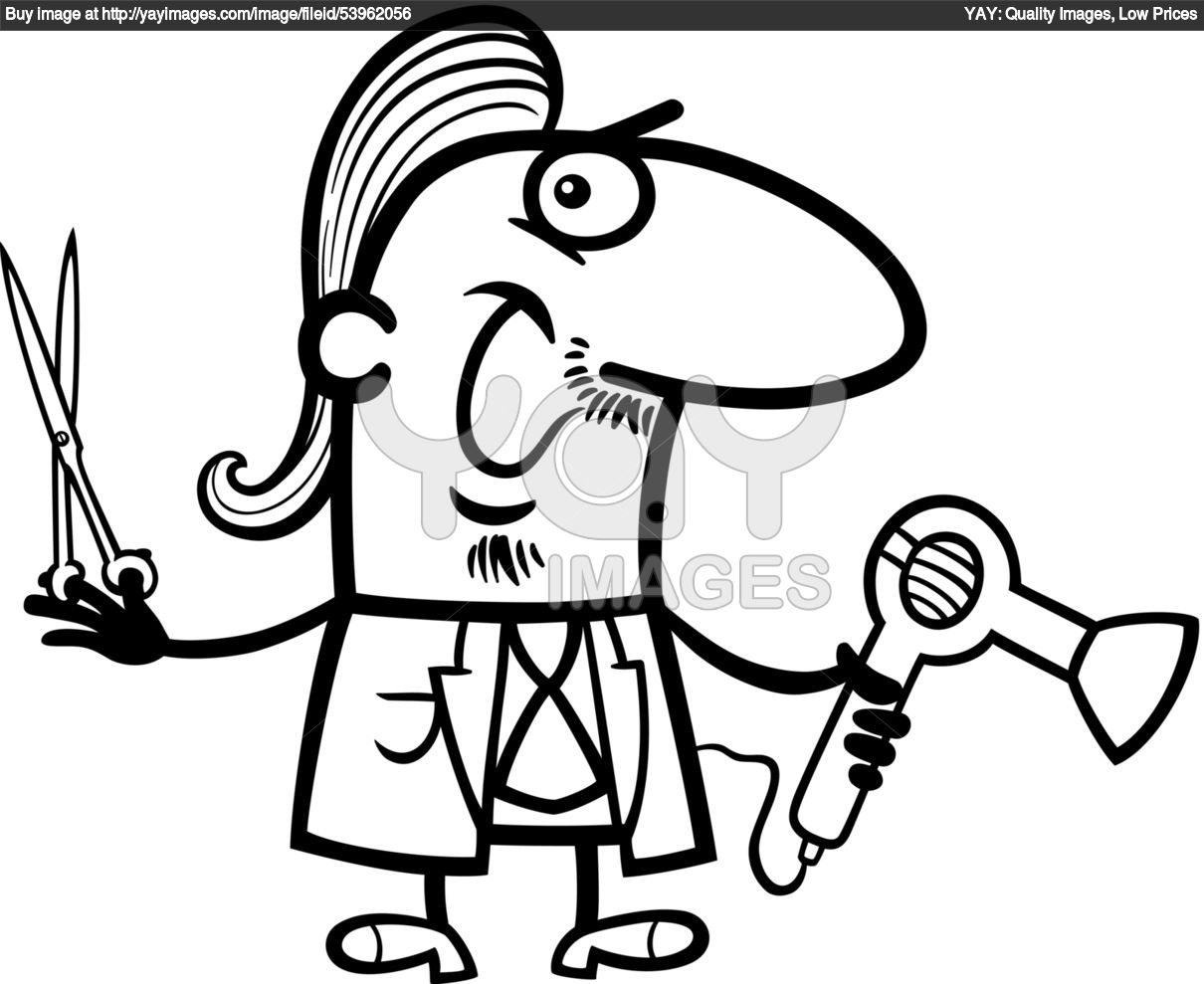 Scissors Coloring Pages Hairdresser Barber Cartoon
