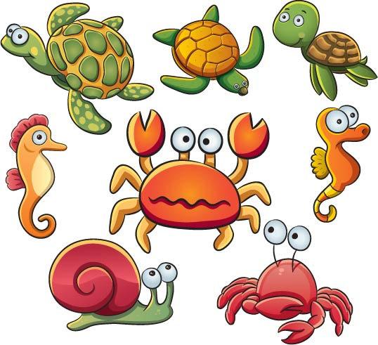 sea horse, snail- Clip art