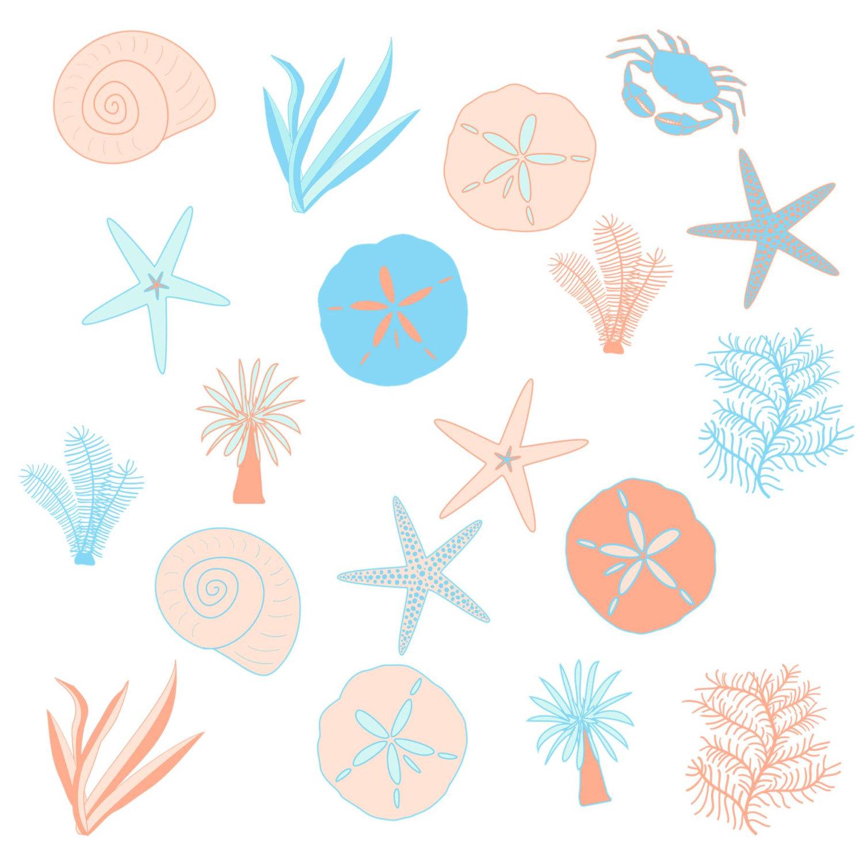 Seashell Beach party invitation  Ocean Wedding Clipart