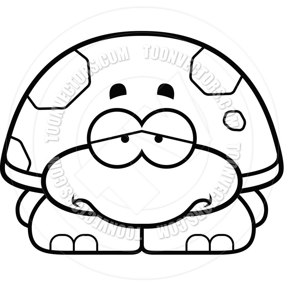 Cute turtle clip art black and white