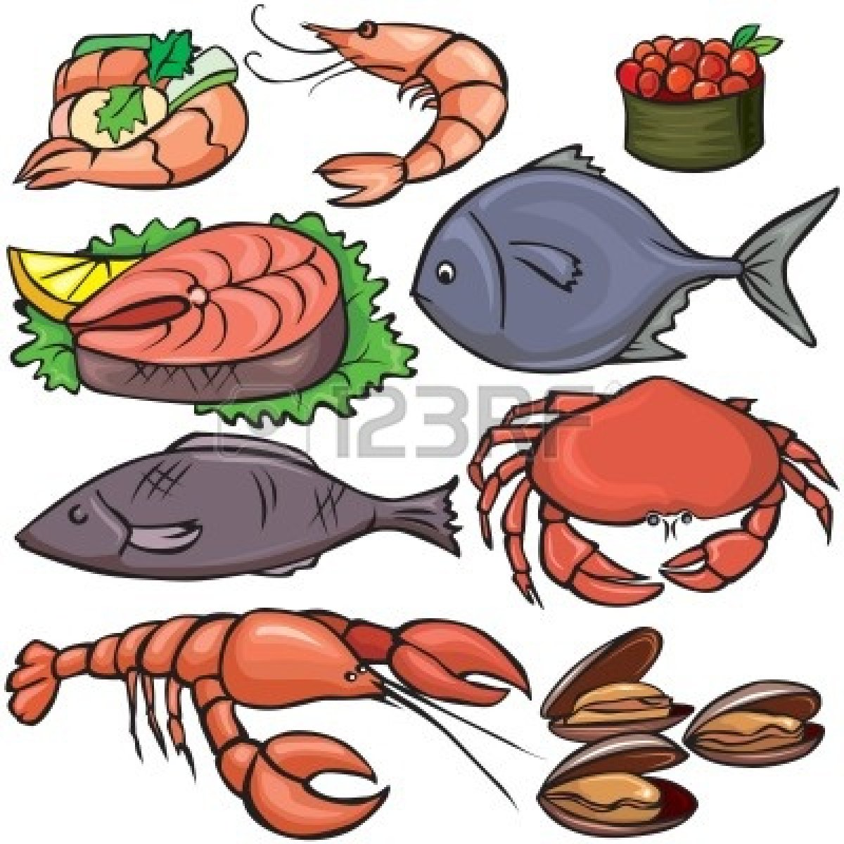 Seafood 20clipart clipart panda free clipart images for Fish and seafood