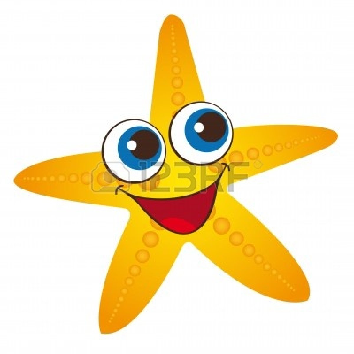 Seastar Clipart  Yellow Starfish Isolated Over White Background Vector