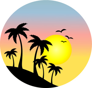 Image result for palm tree with sunset clipart