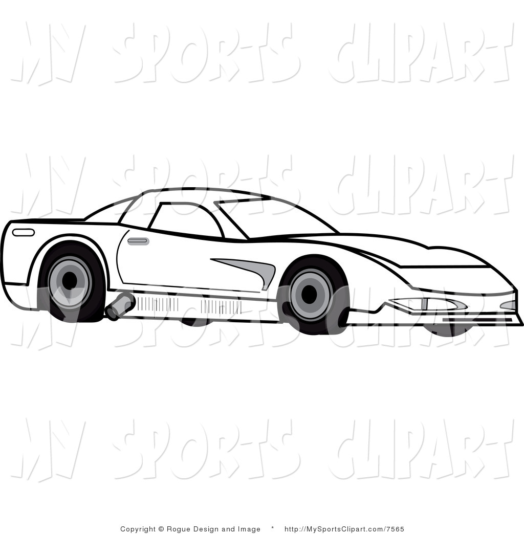 Race Car Clip Art Black and White