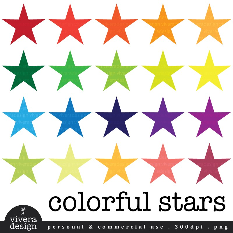 Colorful Stars silver glitter star
