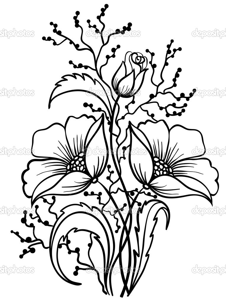 Black Line Flower Drawing : Simple black and white sunflower drawing clipart panda