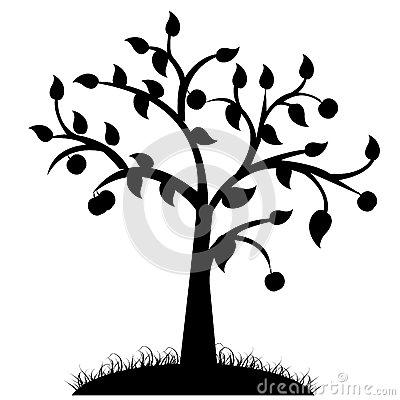 Simple black and white tree design tree silhouette black design white