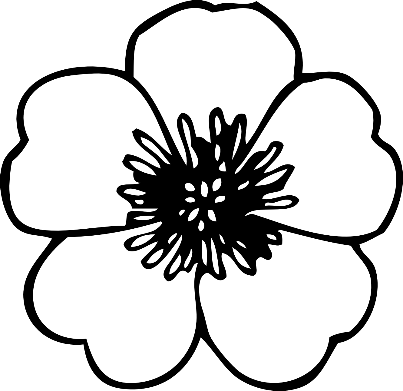 Simple 20flower 20clipart 20black 20and 20white