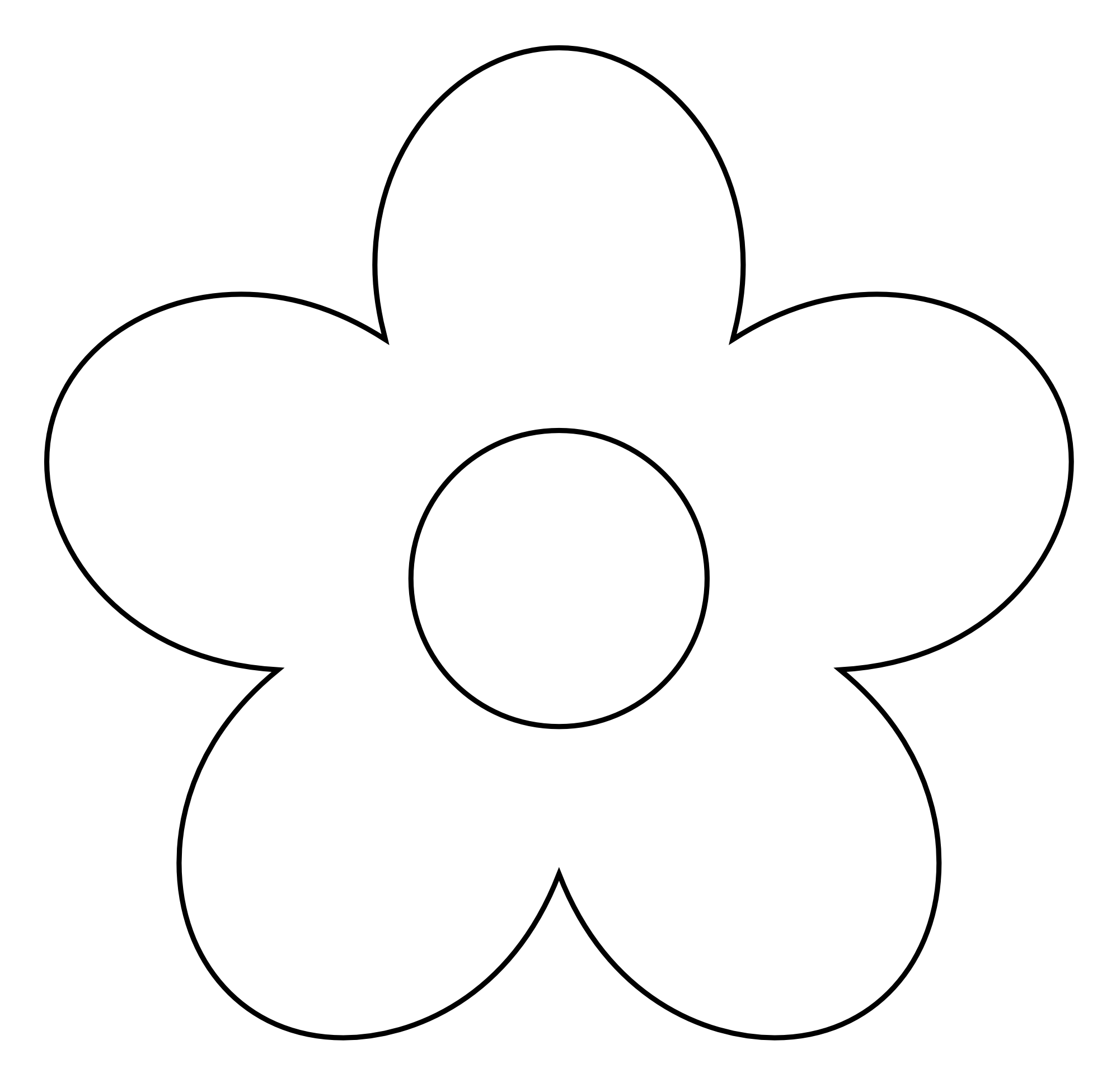 Basic Flower Line Drawing : Simple flower clipart black and white panda