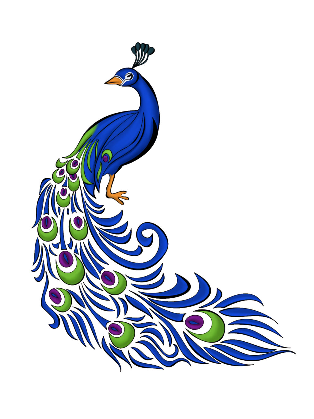 Simple Peacock Clipart Black And White | Clipart Panda ...