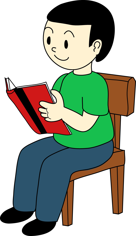 Cartoon student reading at desk