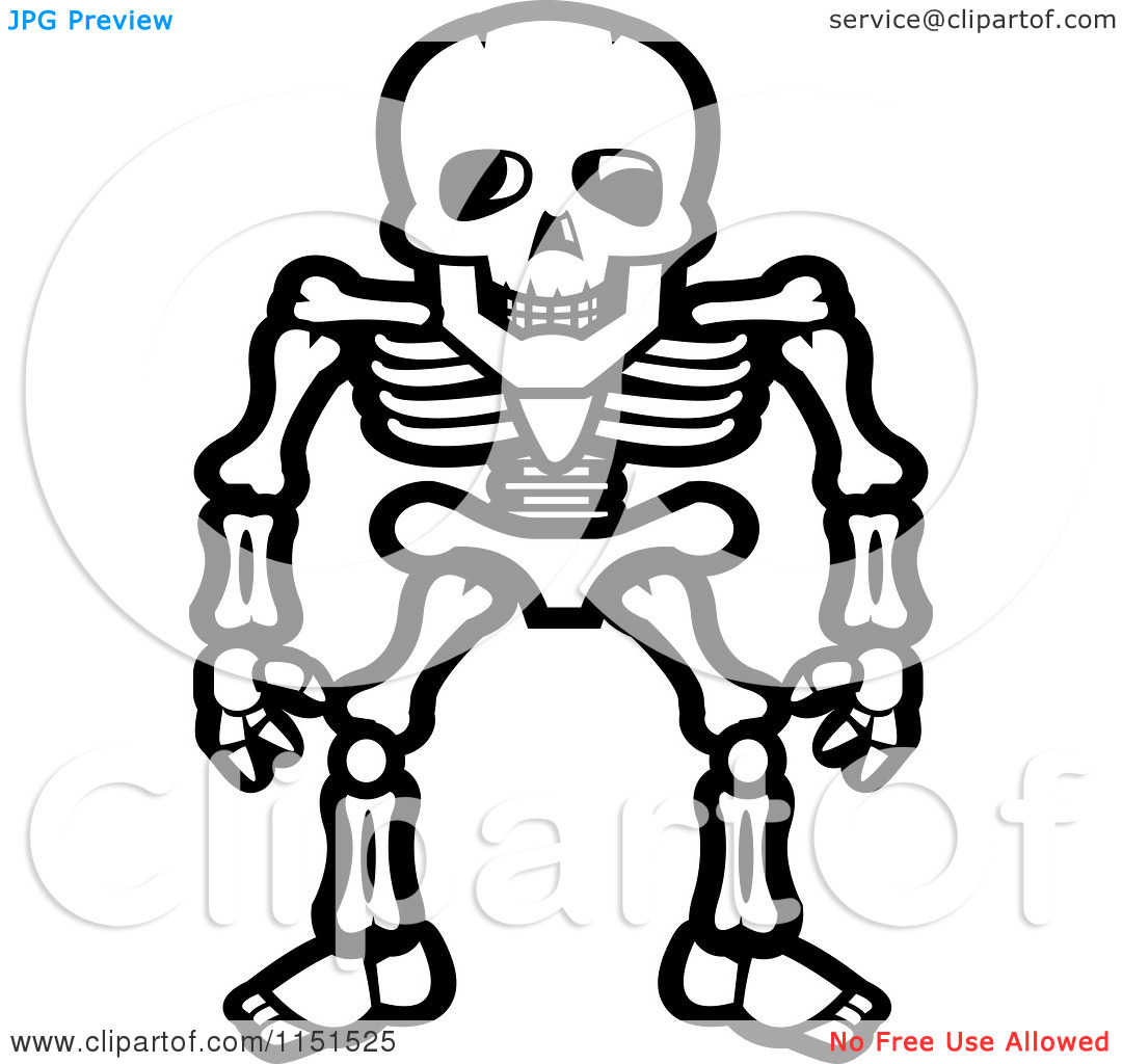 X ray coloring sheets - Skeleton Clip Art