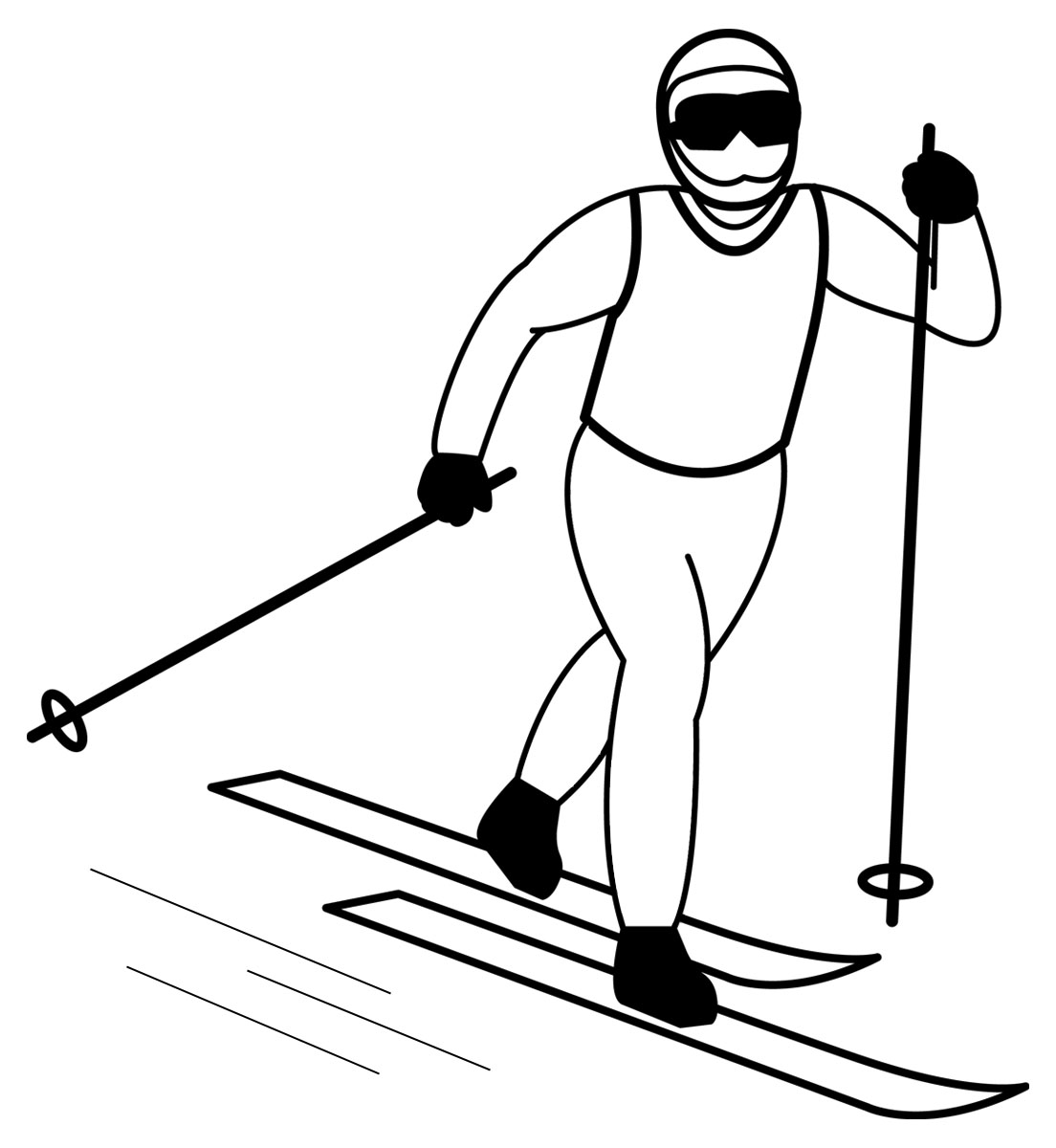how to draw a person skiing