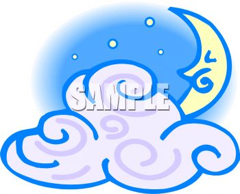 ... -0705-1848_Night_Sky_with_a_Cloud_and_Crescent_Moon_clipart_image.jpg