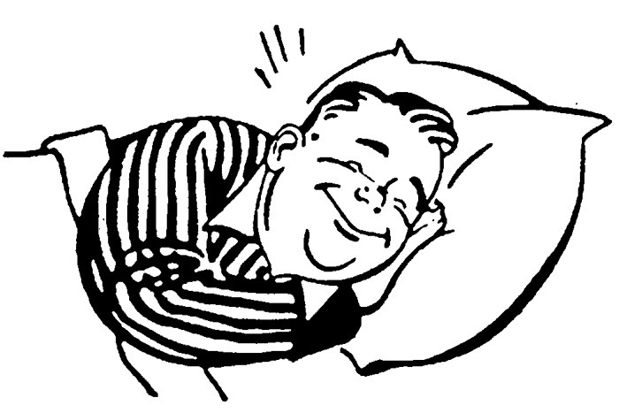 Sleep Clipart on person sleeping in bed drawing