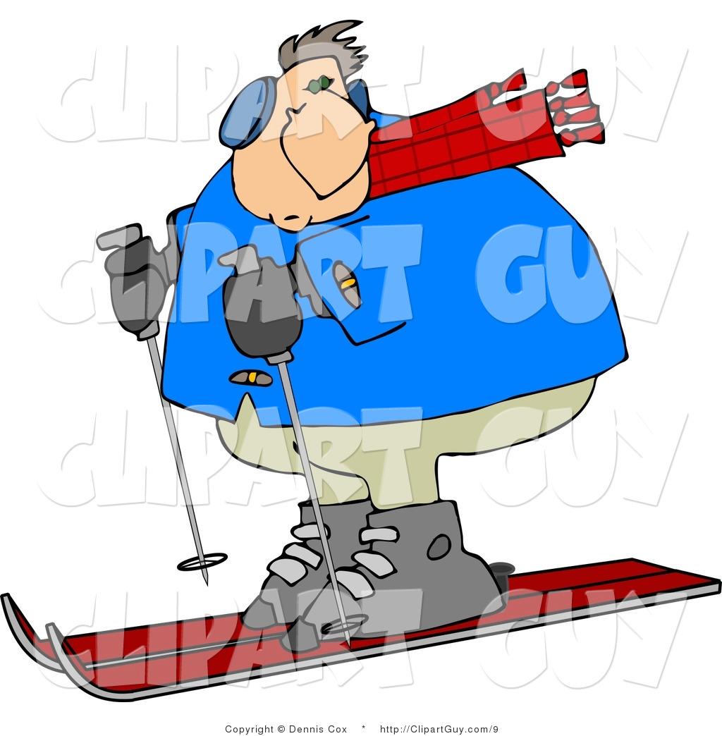 Clip Art Of A Heavy Man Skiing Clipart Panda Free