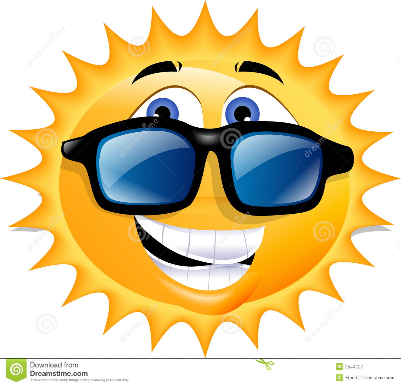 Sun with sunglasses clipart